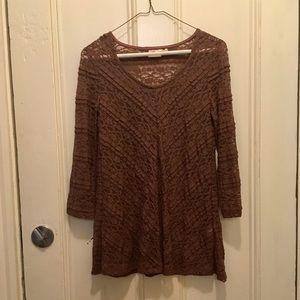 Anthro / Lilka, lace & mauve blouse